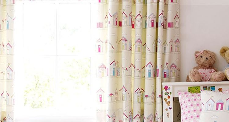 Childrens Curtains - Beach Hut Childrens Bedroom Curtains