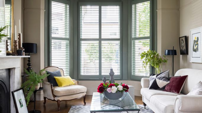 Hillarys-full-height shutters-custom colour green 8-George Clarke