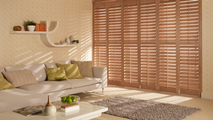 brown tracked shutters-lounge