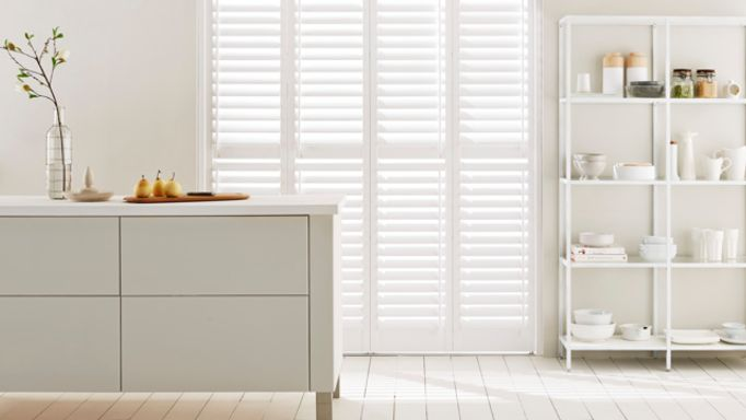 shutters for french doors-white-kitchen