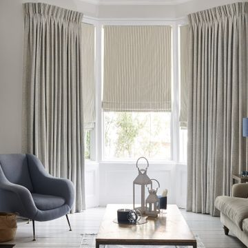 double pinch pleat curtain with a roman blind in the living room - Modello Pastel Pinch Pleat Curtains with Downtown Blue Roman Blind