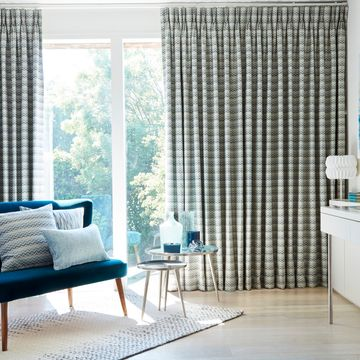 Pinch pleated curtains in the living room - Lazio Marine Green Pinch Pleat Curtain