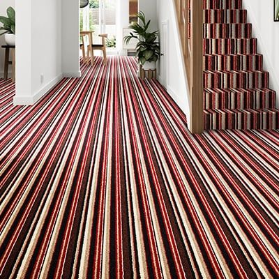 Red-black-brown-cream-carpet-hallway-stairs-mayfair-stripe-boheme