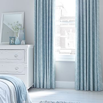 Blue curtains-bedroom-Forest duckegg