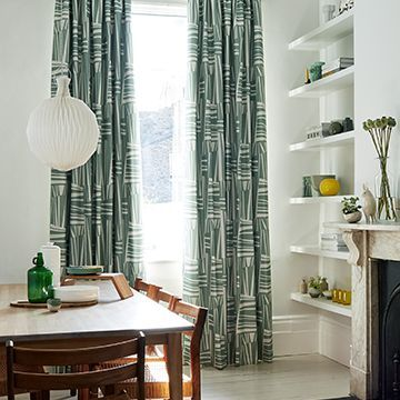 Green patterned made to measure curtains in the dining room - Geometro celadon