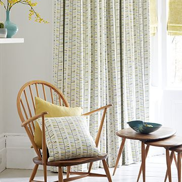 Green patterned made to measure curtains in the lounge - Malva citron