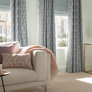 Grey made to measure patterned curtains in the lounge - Folia sky haze