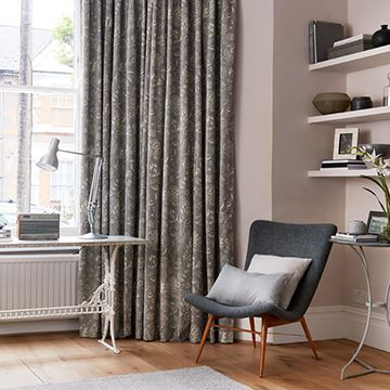 Grey patterned curtains in the lounge - Oralia dove
