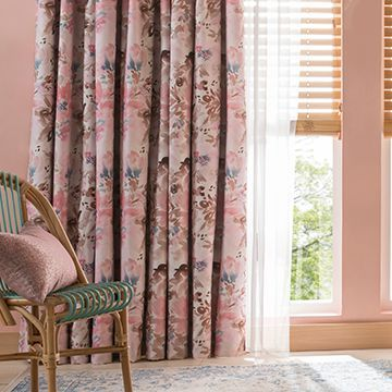 Caprice Soft Pink Floral Made to Measure Curtains in the Lounge