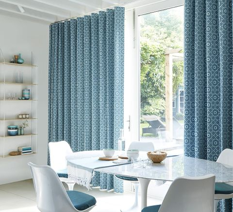 Dining Room with Wave Curtains in Turquoise Fabric