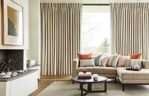 Living Room with Pinch Pleat Pastel Colour Curtains in Mishima Dawn Fabric and matching cushions