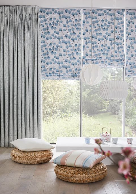 Grey Pinch Pleat Curtains paired with Blue patterned roman blinds