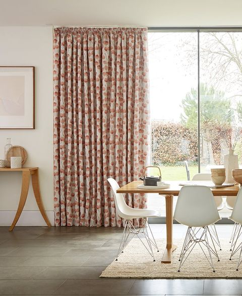 Bright Scandi Dining Room with Pencil Pleat Pink Curtains in a floral pattern