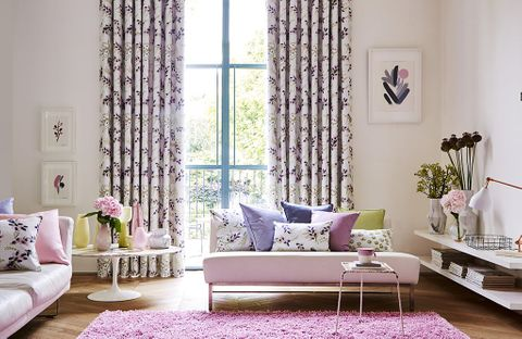 Purple Living Room Curtains in floral feminine space