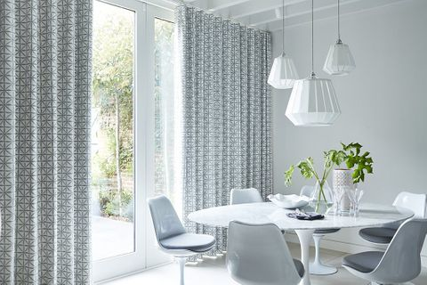 Dining Room with White Patterned Wave Curtains in Shibori Smoke Fabric