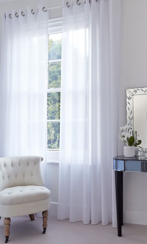 Light and Bright Minimal Room with White Voile Curtains