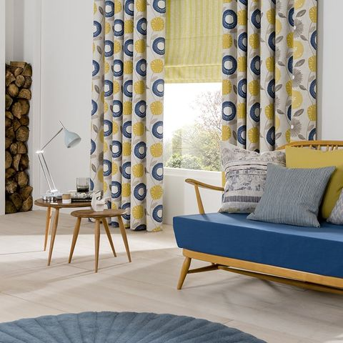 Retro style room with blue and yellow living room Curtains