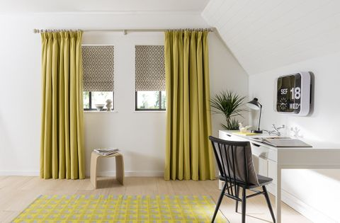 Home Office with plain Yellow Curtains