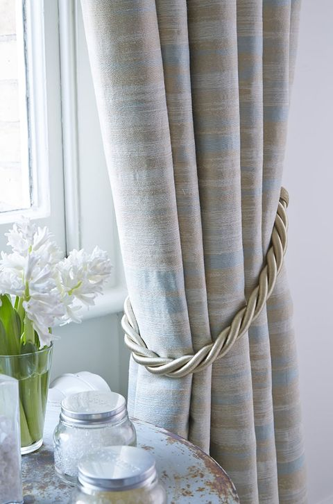 Close Up of Cream Striped Curtains