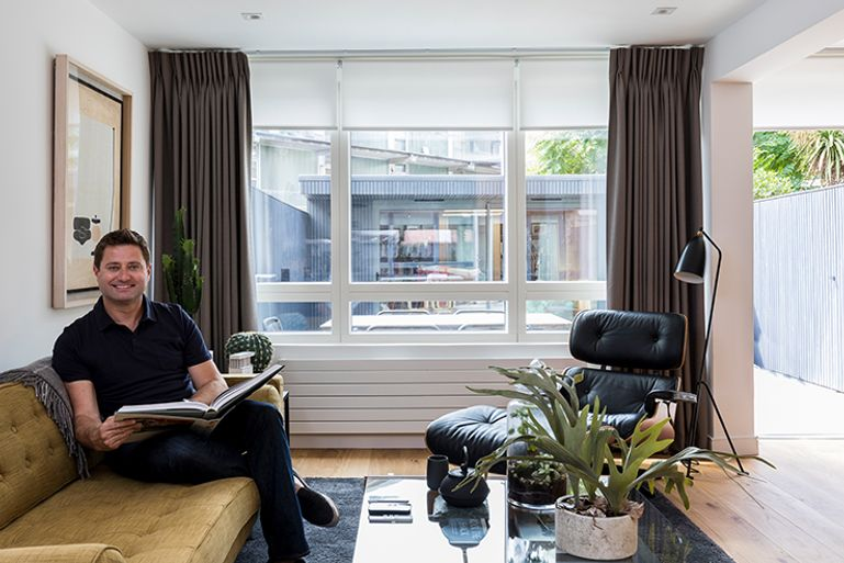 Brown-Curtains-Living-Room-Hillarys-Acacia-Ice-Motorised-Roller-blind-with-Bardot-Grey