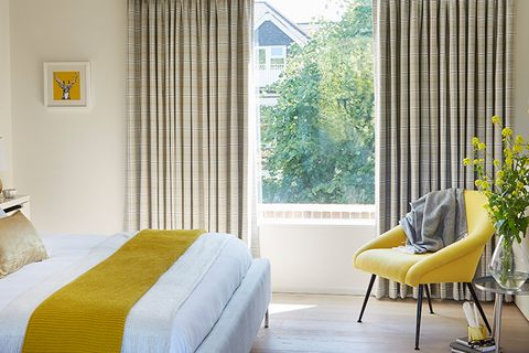 Bright Bedroom with Thermal Curtains in Check Wallace Chartreuse Fabric and yellow accent decor