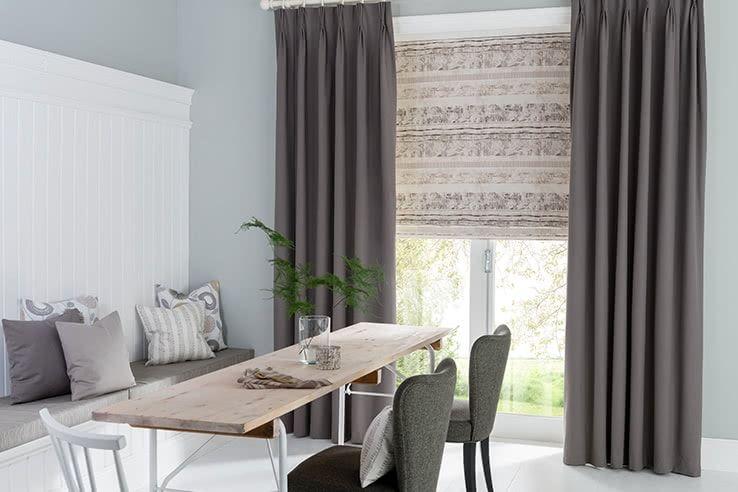 Grey Curtain Dining Room Tetbury_Charcoal