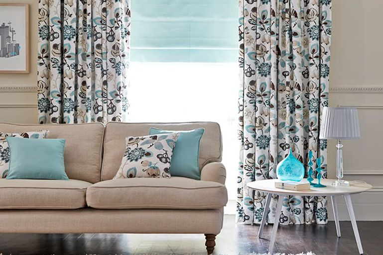 Blue-Floral-Curtains-Living-Room-Cameo