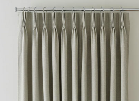 Close up of triple pinch pleat curtains