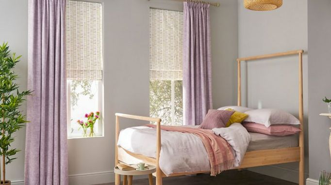 Lavender full length curtains with romans in a roomset