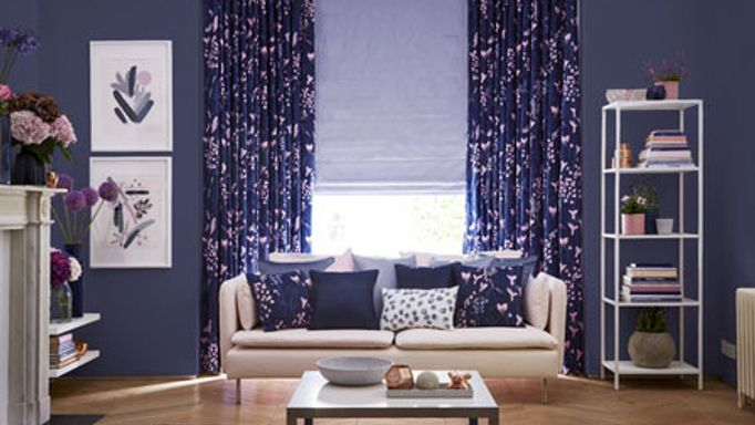Purple curtains in a roomset