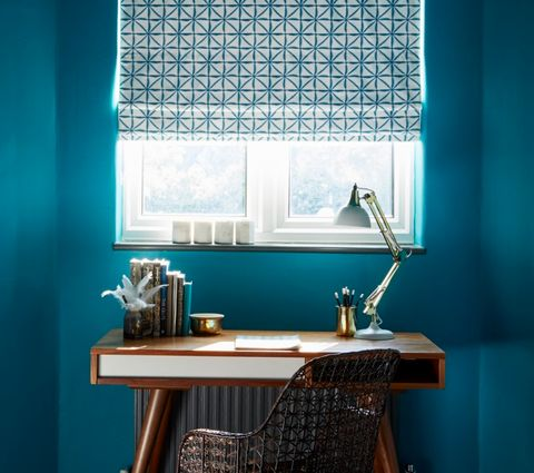 Shibori Aquamarine Roman Blinds in Home Office