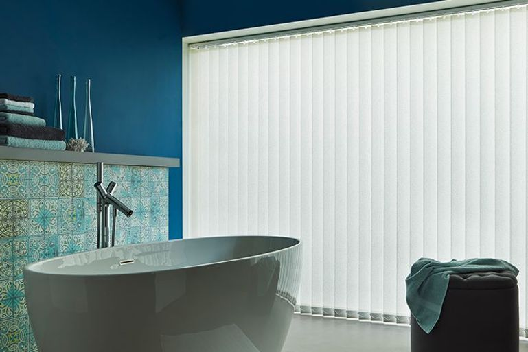 Bathroom window with Alma Ivory Vertical blinds