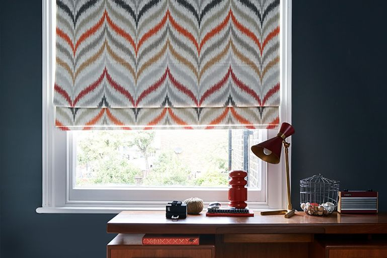 Office window with Souk Spice roman blinds