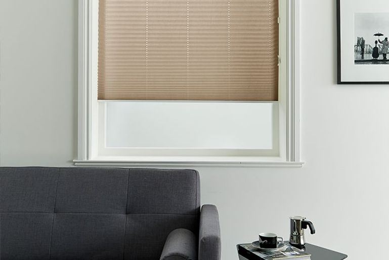 brown pleated blinds in a living room window