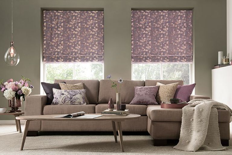 lavender purple blackout roman blinds in a modern living room window