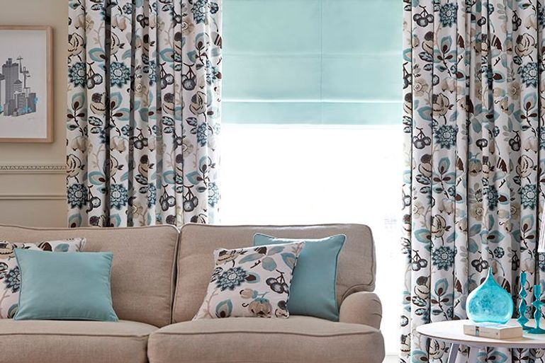 Harlow Turquoise curtains in living room