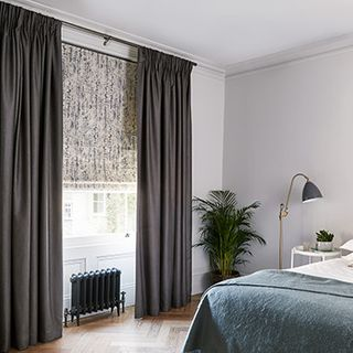 Opulence Smoke curtains with Mirage Smoke roman blind