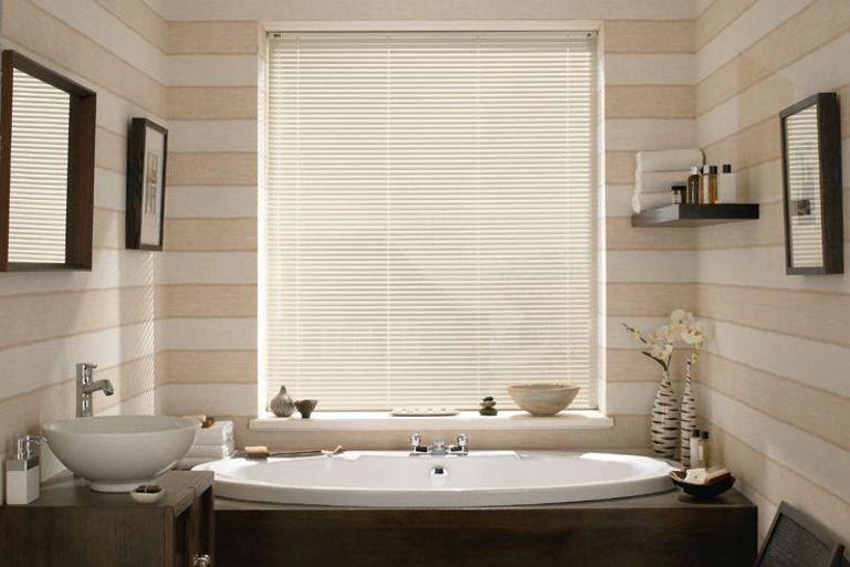 luxury bathroom with cream venetian blinds