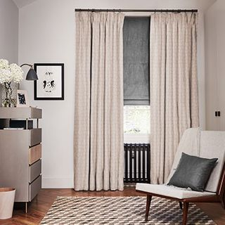 Echo Shell curtains with Opulence Smoke Roman blind
