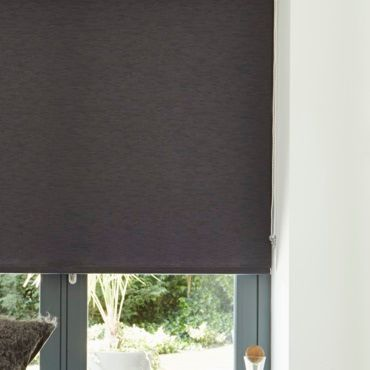 close up of black roller blinds