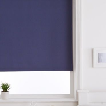 navy blue roller blind close up