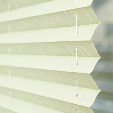 close up of green pleated blinds