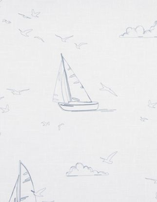 Repeating boats pattern on a white coloured fabric