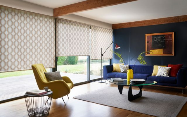 Brindle spice roller blinds in dining room