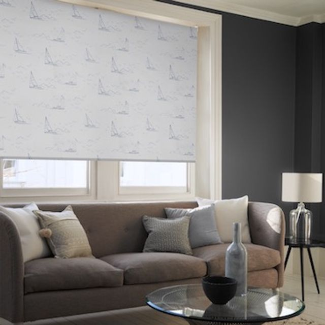 Boats navy roller blind
