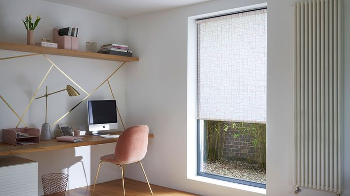 Modern Minimalist Home Office with white pattern roller blind
