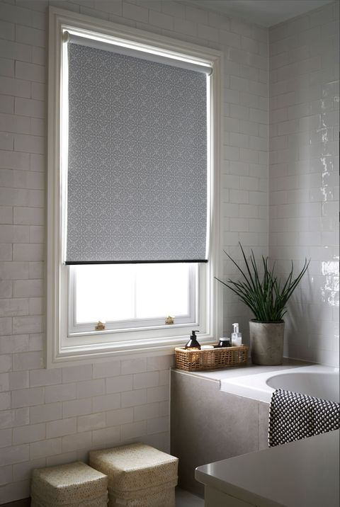 Patterned Roller Blind_Marrakesh Stone_Bathroom