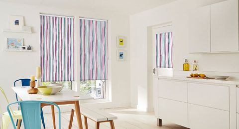 Pink Patterned Roller Blind_Rush Berry_Kitchen