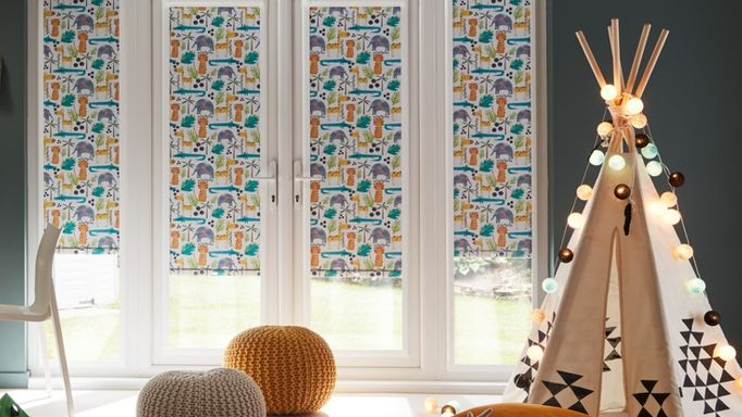 jungle book safari roller blinds in a children's playroom