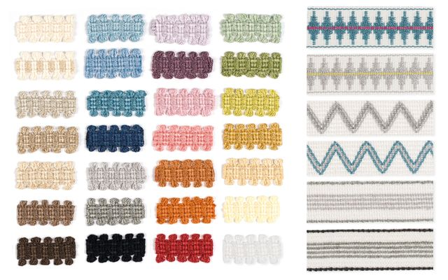 A variety of braids laid out alongside different patterns